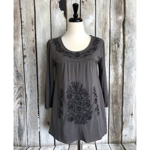 Garnet Hill Folkloric Floral Embroidered Knit Top